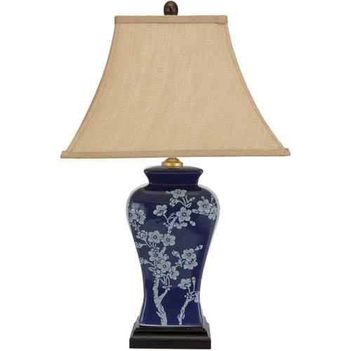 23-inch Cherry Blossoms Blue Porcelain Jar Lamp
