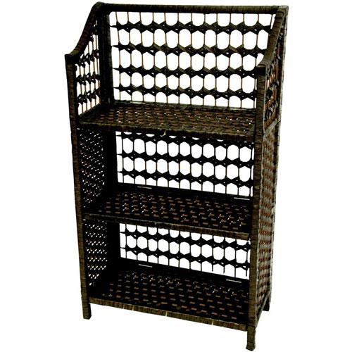 Oriental Furniture 33 Inch Natural Fiber Shelving Unit Black, Width - 10.25 Inches