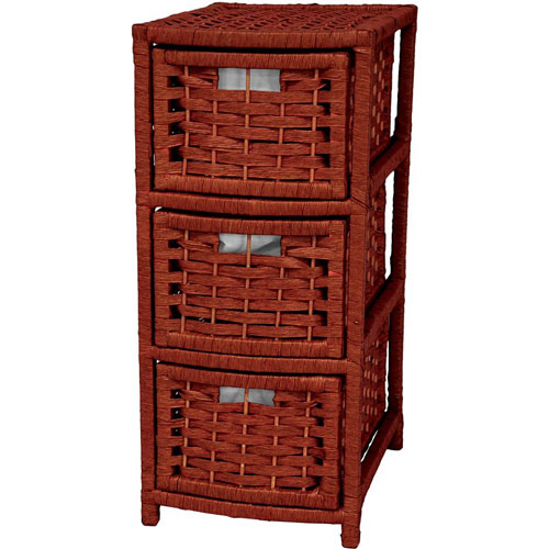 Oriental Furniture 25 Inch Natural Fiber Occasional Chest of Drawers Mahogany, Width - 11 Inches