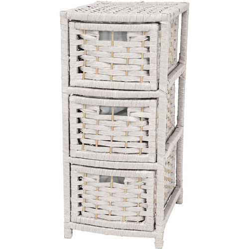 Oriental Furniture 25 Inch Natural Fiber Occasional Chest of Drawers White, Width - 11 Inches