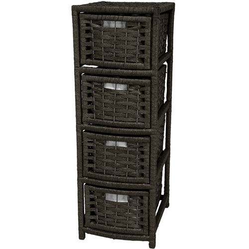 Oriental Furniture 32 Inch Natural Fiber Occasional Chest of Drawers Black, Width - 11 Inches