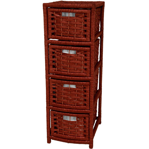 Oriental Furniture 32 Inch Natural Fiber Occasional Chest of Drawers Mahogany, Width - 11 Inches