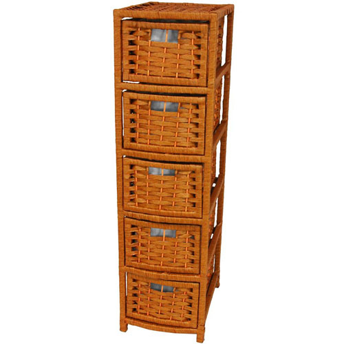 40 Inch Natural Fiber Occasional Chest of Drawers Honey, Width - 11 Inches