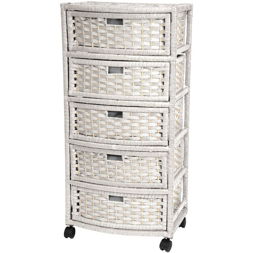 Oriental Furniture 37 Inch Natural Fiber Chest of Drawers White, Width - 13 Inches