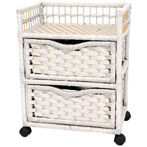 Oriental Furniture 23 Inch Natural Fiber Chest of Drawers on Wheels White, Width - 17 Inches
