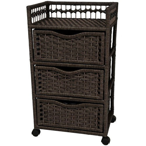 31 Inch Natural Fiber Chest of Drawers on Wheels Black, Width - 17 Inches