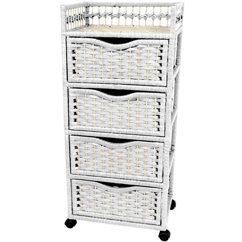 38 Inch Natural Fiber Chest of Drawers on Wheels White, Width - 17 Inches