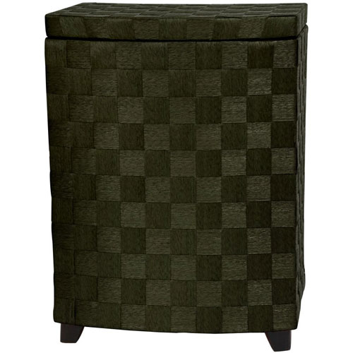 27 Inch Natural Fiber Laundry Hamper Black, Width - 15 Inches