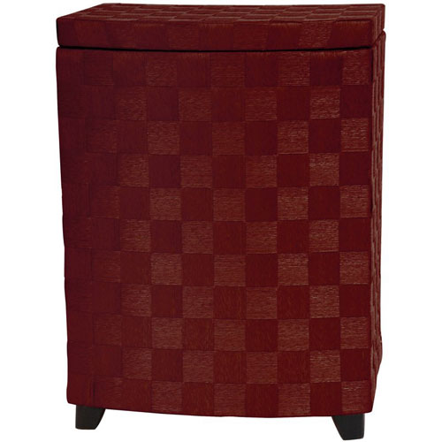 27 Inch Natural Fiber Laundry Hamper Mahogany, Width - 15 Inches