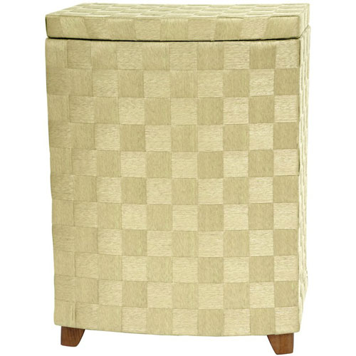 27 Inch Natural Fiber Laundry Hamper Ivory, Width - 15 Inches