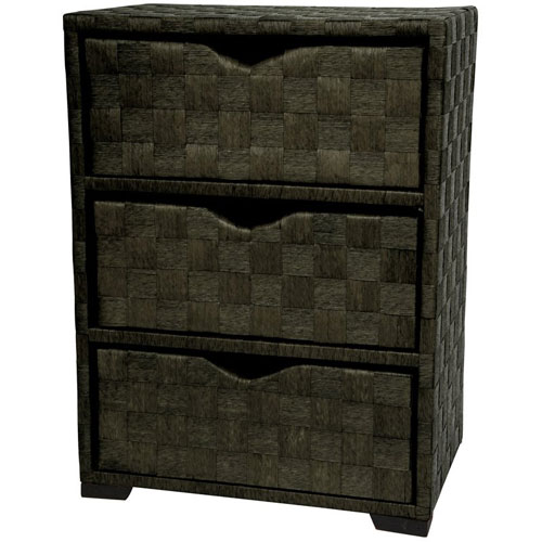25 Inch Natural Fiber Chest of Drawers Black, Width - 11.75 Inches
