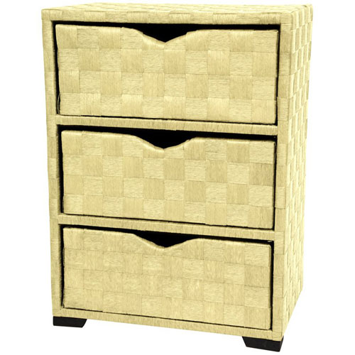 25 Inch Natural Fiber Chest of Drawers White, Width - 11.75 Inches