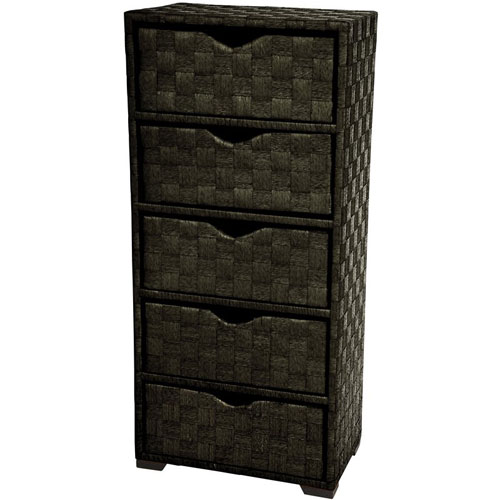 25 Inch Natural Fiber Chest of Drawers Black, Width - 19 Inches