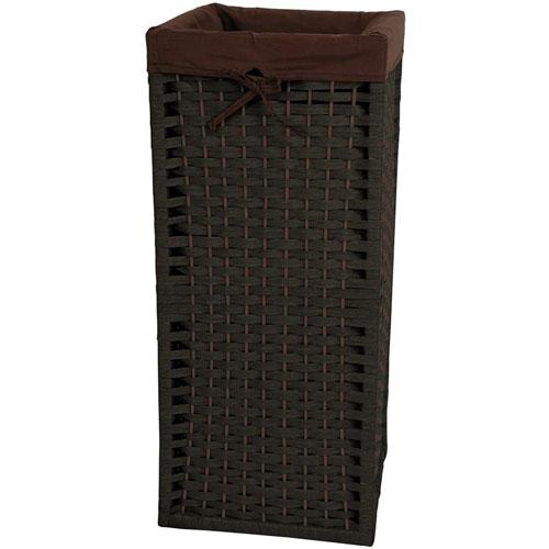 28 Inch Natural Fiber Laundry Hamper Black, Width - 12 Inches