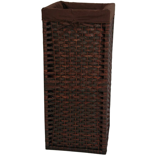 28 Inch Natural Fiber Laundry Hamper Mocha, Width - 12 Inches