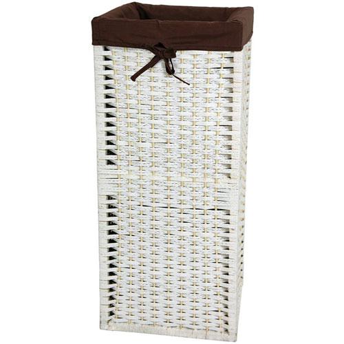 28 Inch Natural Fiber Laundry Hamper White, Width - 12 Inches