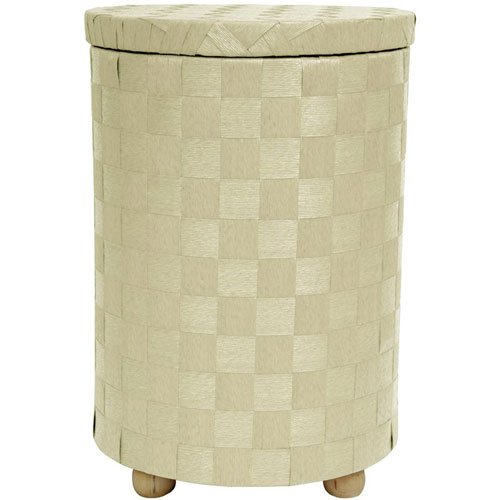 Oriental Furniture 26 Inch Natural Fiber Laundry Hamper White, Width - 17.25 Inches