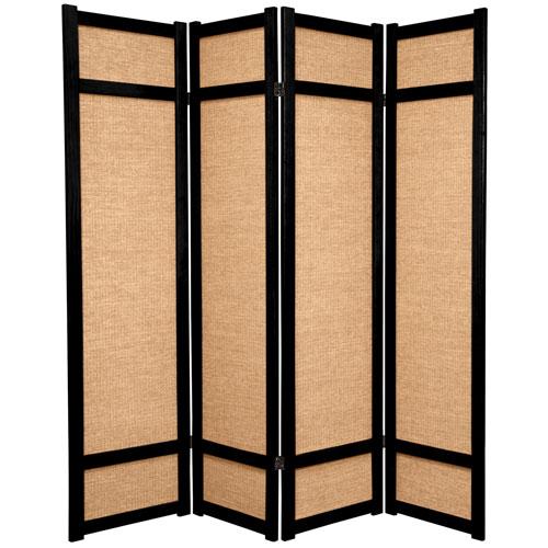 Oriental Furniture 6-Foot Tall Jute Shoji Screen - 4 Panel - Black