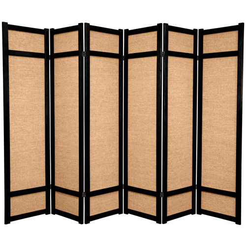 6-Foot Tall Jute Shoji Screen - 6 Panel - Black