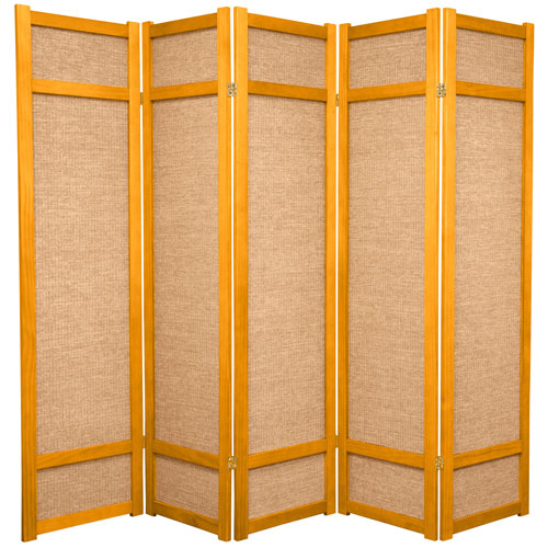 Oriental Furniture 6-Foot Tall Jute Shoji Screen - 5 Panel - Honey