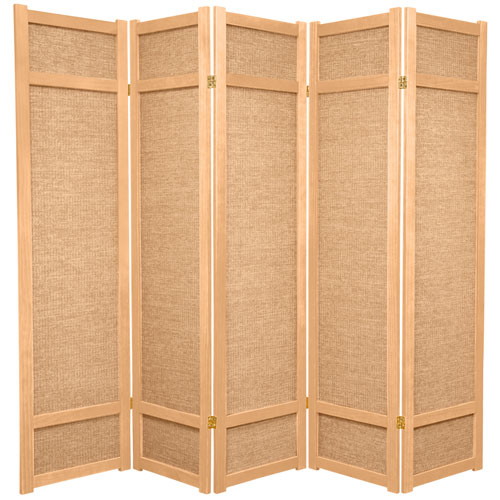 Oriental Furniture 6-Foot Tall Jute Shoji Screen - 5 Panel - Natural