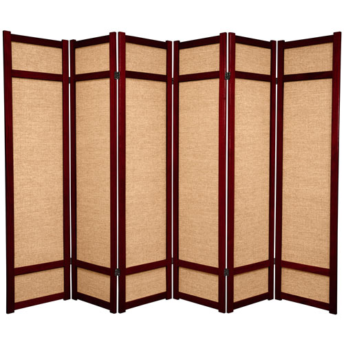 6-Foot Tall Jute Shoji Screen - 6 Panel - Rosewood