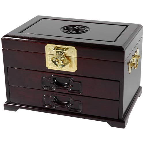 Rosewood Merbu Jewelry Box with Two Drawers