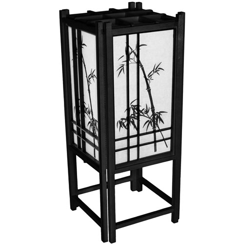 Oriental Furniture 18-Inch Bamboo Tree Lamp - Black