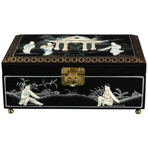 Oriental Furniture Clementina Black Jewelry Box