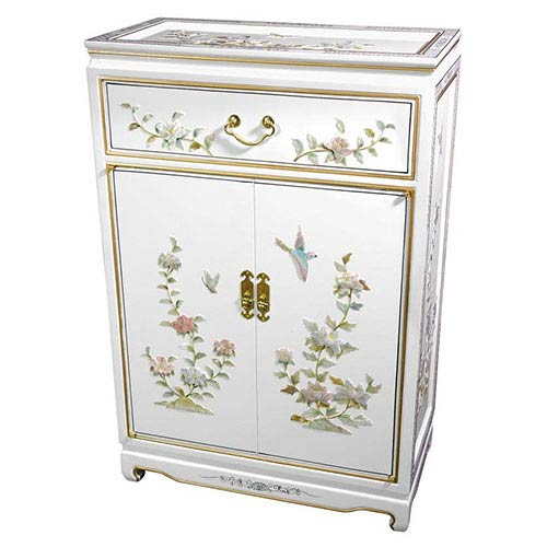 Lacquer White Birds and Flowers Shoe Cabinet