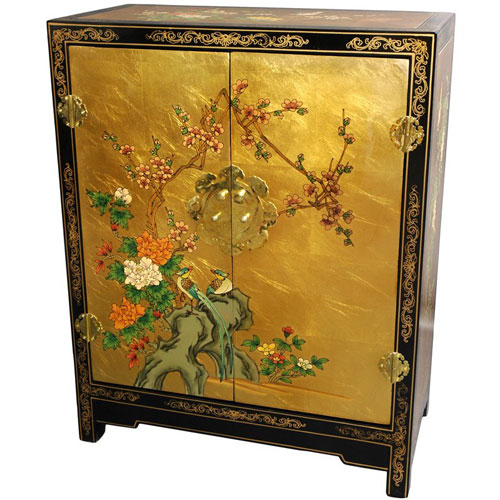 Gold Leaf Lacquer Cabinet, Width - 24 Inches
