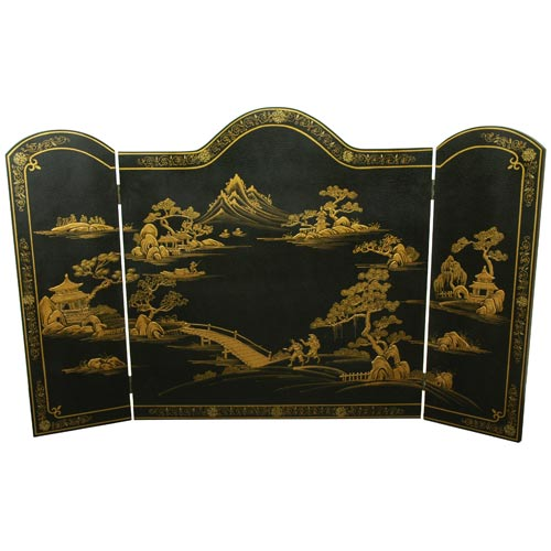 Oriental Furniture Black Fireplace Screen