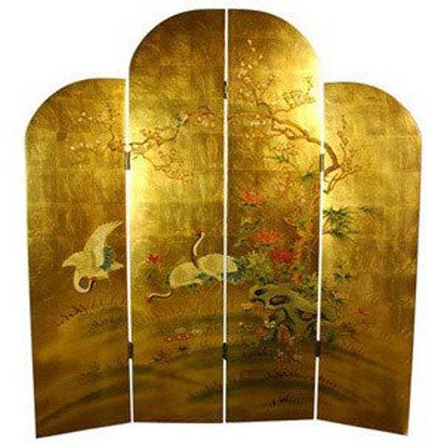 Golden Cranes Screen, Width - 64 Inches