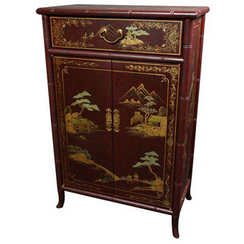 Japanese Red Shoe Cabinet