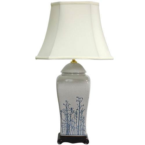 26-inch Blue and White Spring Forest Porcelain Vase Lamp