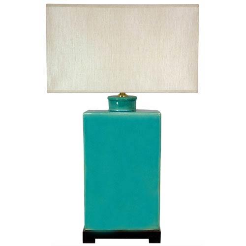 28-inch Rectangular Turquoise Lamp