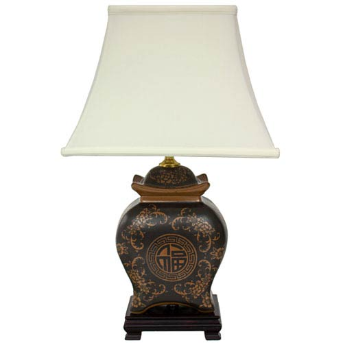 19-inch Black and Brown Medallions Porcelain Lamp