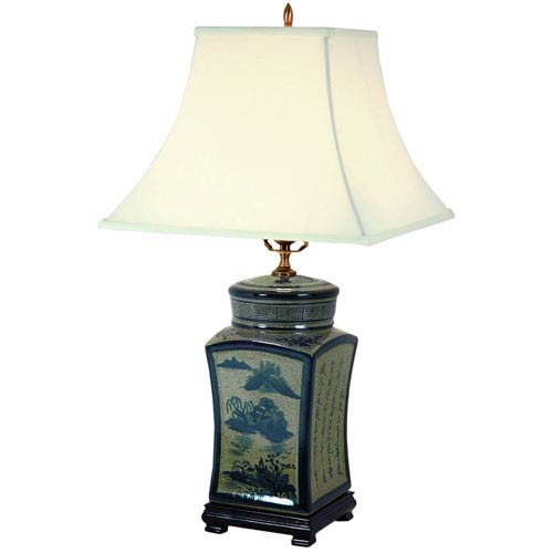 25-inch Blue and White Chinese Calligraphy Porcelain Lamp