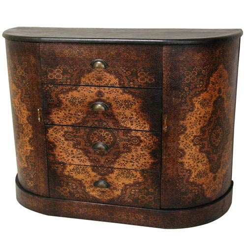 Olde - Worlde European Four Drawer Credenza, Width - 43 Inches