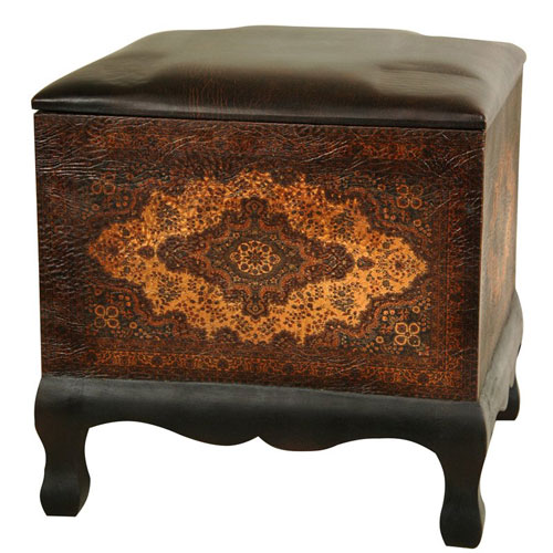 Oriental Furniture Olde - Worlde Baroque Ottoman/Stool, Width - 15.75 Inches