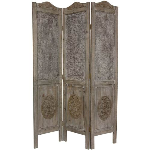 Six Ft. Tall Closed Mesh Antique Design Room Divider, Width - 16.5 Inches
