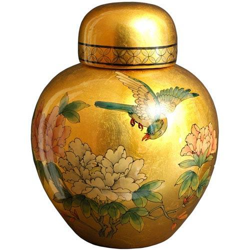 Oriental Furniture Gold Leaf Ginger Jar, Width - 9.5 Inches