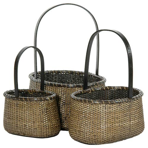 Rattan Beige and Tan Round Handle Basket, Set of 3
