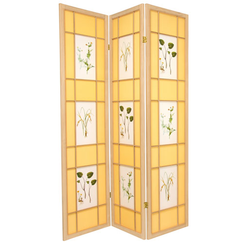 Oriental Furniture 6-Foot Tall Herbal Floral Shoji Screen - 3 Panel - Natural