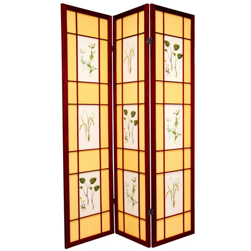 Oriental Furniture 6-Foot Tall Herbal Floral Shoji Screen - 3 Panel - Rosewood