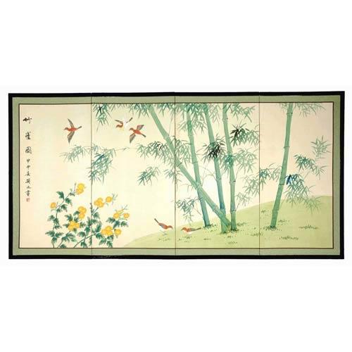 Bamboo and Five Birds Silk Screen