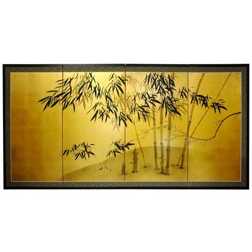 Oriental Furniture Gold Leaf Bamboo, Width - 18 Inches