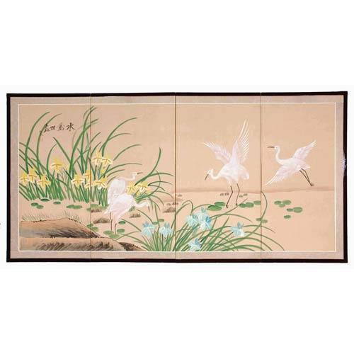 Oriental Furniture Birds on the Pond Silk Screen