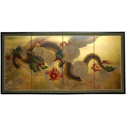 Dragon in the Sky on Gold Leaf Silk Screen