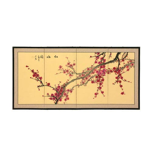 Oriental Furniture 18-Inch Plum Blossom Silk Screen